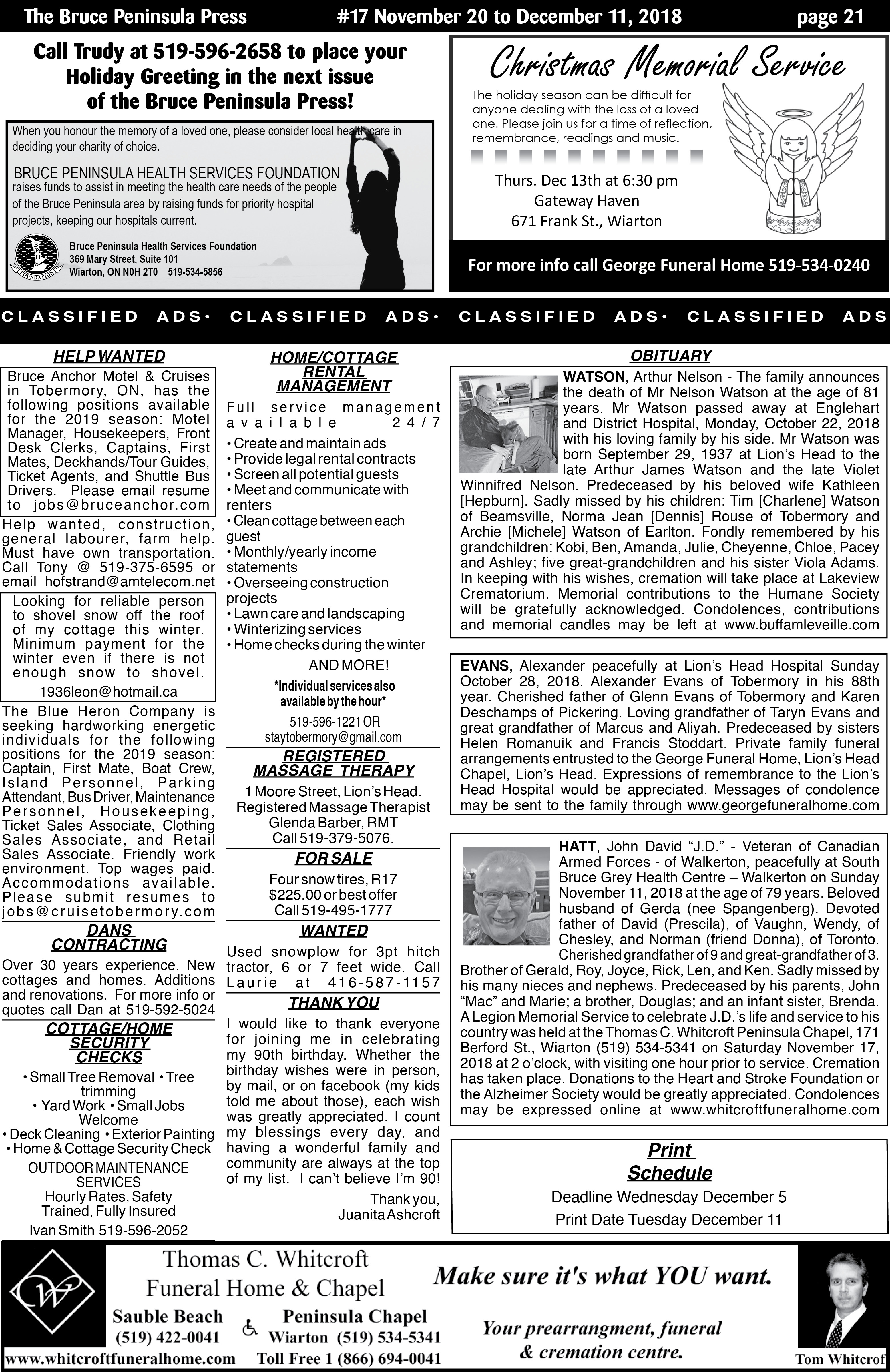 Clified Ads | Bruce Peninsula Press on page merry christmas,